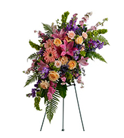Heavenly Grace Spray, roses, stock, larkspur, carnations, lilies, bells of ireland, sympathy and funeral