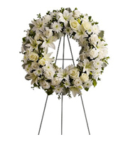 Serenity Wreath, roses, lilies, carnations, chrysanthemums, sympathy and funeral