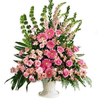 Splendid Grace Arrangement, roses, daisies, carnations, snapdragons, alstroemeria, bells of ireland, sympathy and funeral