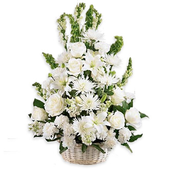 Eternal Light Basket, roses, mums, lilies, stock, snapdragons, bells of ireland, sympathy and funeral