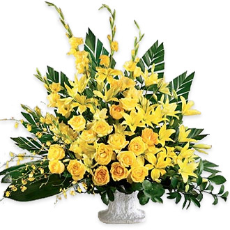 Golden Memories, orchids, sympathy and funeral