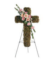 Pink Bouquet Cross, roses, carnations, sympathy and funeral