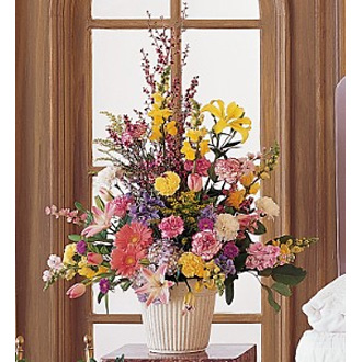 Spring Hope Arrangement, stock, snapdragons, tulips, lilies, asters, sympathy and funeral