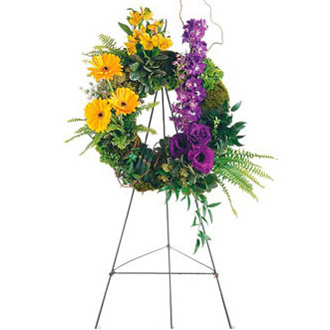 Ring of Hope Ring, gerberas, alstroemeria, delphinium, lisianthus, sympathy and funeral