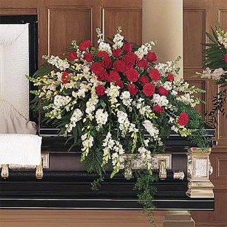 Adoring Memories Casket Spray, stock, snapdragons, dendrobium orchids, roses, carnations, sympathy and funeral