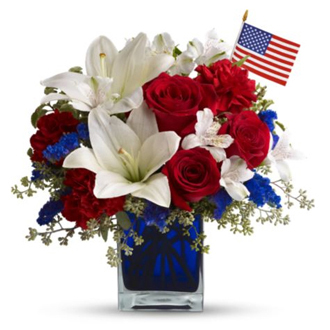 America the Beautiful, lilies, roses, statice, carnations, alstroemeria, patriotic, military, centerpieces