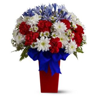 Patriotic Petals, agapanthus, chrysanthemums, asters, carnations, patriotic, military