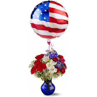 Red White and Balloon, roses, delphinium, asters, alstroemeria, gypsophila, oregonia, patriotic, military