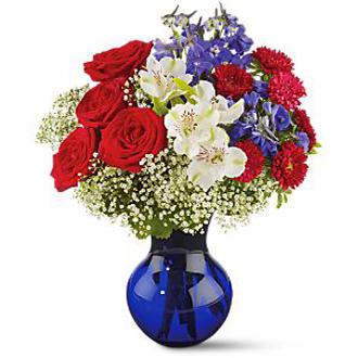 Red White and True, roses, delphinium, asters, alstromeria, gypsophila, patriotic, military