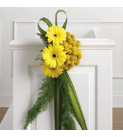 Yellow Gerbera Pew Decoration, daisies, wedding ceremony