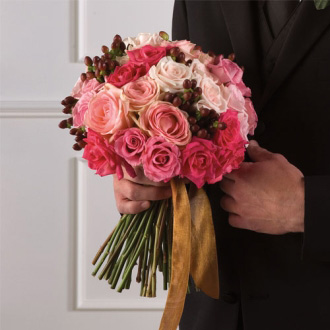 Pink Rose Bouquet, bridal bouquet