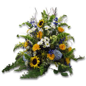 Sunflower and Daisy Arrangement, gerbera, hydrangea, bells of ireland, snapdragons, delphinium, willow, solidago, wedding centerpieces, ceremony