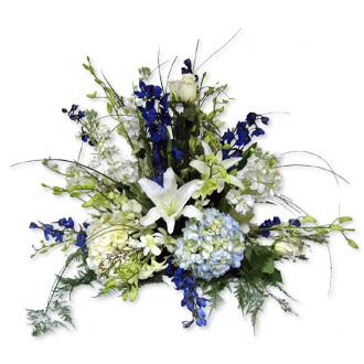 Hydrangea and Orchid Centerpiece, delphinium, roses, stock, dendrobium, wedding centerpieces