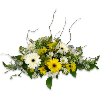Daisy Arch Decoration, willow, gerberas, snapdragons, solidago, wedding ceremony