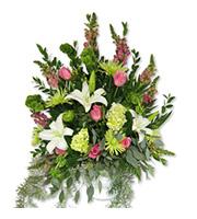 Lily and Rose Arrangement, hydrangea, snapdragon, mum, bells of ireland, wedding ceremony