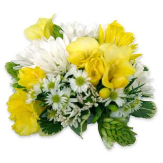 Yellow and White Cake Topper, daisies, freesia, star of bethlehem, cake flowers