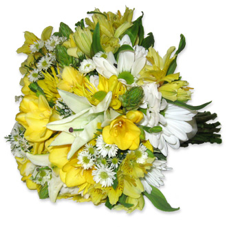 Yellow and White Vibrance, lilies, freesia, Star of Bethlehem, daisies, monte casino, alstroemeria, bridal bouquet