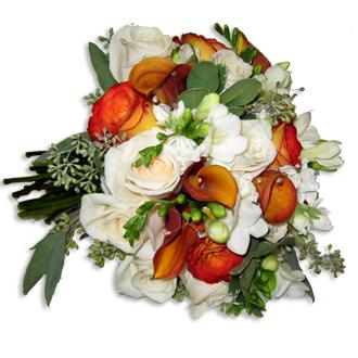 Brilliance Bouquet, callas, roses, freesia, eucalyptus, bridal bouquet