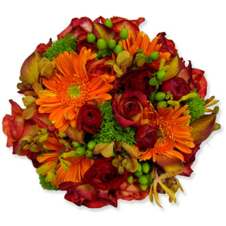 Romantic Glow, hypericum berries, orchids, callas, roses, daisies, trachelium, ranunculus, bridal bouquet