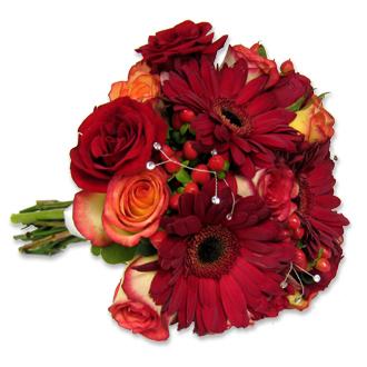 Bold and Brilliant Bouquet, gerberas, hypericum, bridal bouquet