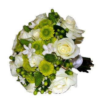 Green and White Floral Fantasy, roses, star of bethlehem, mums, stephanotis, bridal bouquet
