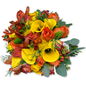 Sunshine of Love, roses, callas, lilies, yarrow, hypericum, freesia, eucalyptus, bridal bouquet