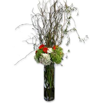 Tall Hydrangea Arrangement, gerbera, willow, wedding ceremony