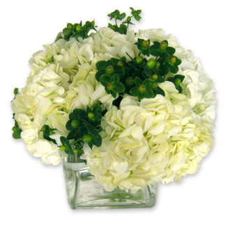 White Hydrangea and Green Hypericum, wedding centerpieces
