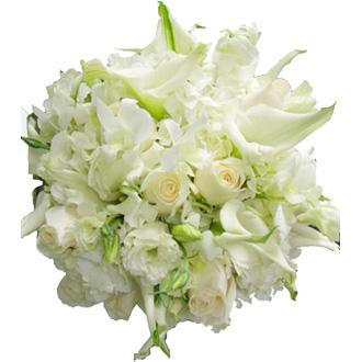 White Dreams Cutch, calla lilies, dendrobium orchids, lisianthus, roses, hydrangea, bridal bouquet