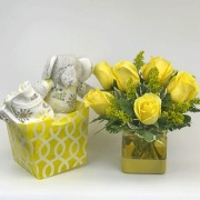 Yellow Roses with Plush Elephant and Onsie