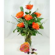 6 Orange Roses with Chocolates