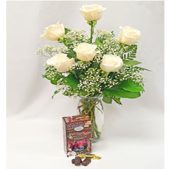 6 White Roses with Seattle Chocolates
