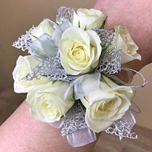 White Rose with Silver Wrist Corsage