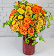 Colorful Country Mason Jar Of Blooms