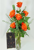 Orange Roses With Spokandy Chocolates