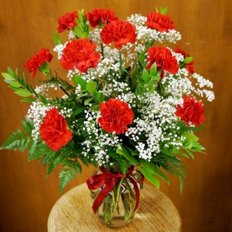 Dozen Red Carnation Bouquet