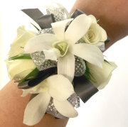 Silver and White Wrist Corsage
