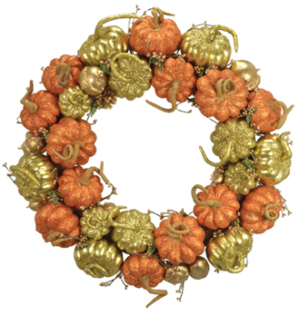 Copper Pumpkin Wreath - 20