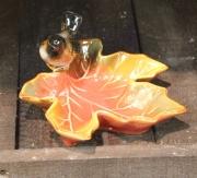 Bird on Leaf Dish