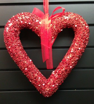 Glittery Red Heart Wreath