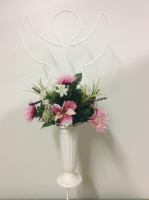 Metal Angel stand with silk seasonal vase arrangement