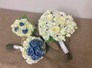 Blue roses, white hydrangea