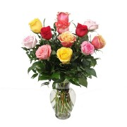 One Dozen Vased Multicolor Roses