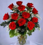 One Dozen Vased Red Roses
