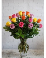 Two dozen multicolor vased roses