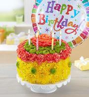 Birthday wishes flower cake and ballonyellow tone
