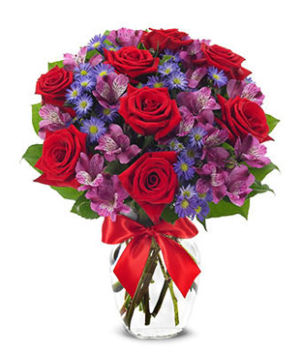Red Rose and Lavander Alstromeria bouquet