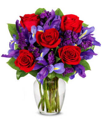 Blue Iris and Rose Bouquet