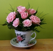 Pink rose in a cup