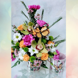 HF Butterfly Mug Arrangement